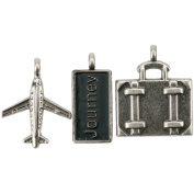 Travel Metal Charms 2.5cm X.13cm To 2.5cm x 3.2cm 3/Pkg-Journey Tag, Suitcase & Aeroplane