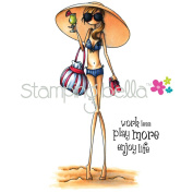 Stamping Bella Cling Rubber Stamp 11cm x 6.4cm -Uptown Girl Sandy In Her Sombrero