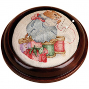 Mahogany Round Pincushion 10cm - 1.9cm -Design Area 7.6cm - 1.9cm