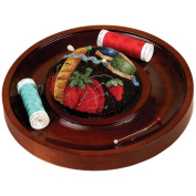 Sudberry House Mahogany Round Pincushion Tray 18cm 9.5cm Design Area 15761