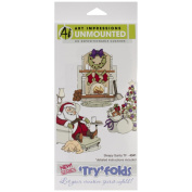 Art Impressions Try'folds Cling Rubber Stamps 23cm x 11cm -Sleepy Santa