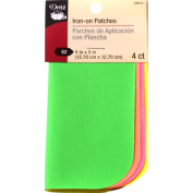 Iron-On Poplin Patches 13cm x 13cm 4/Pkg-Assorted Neon