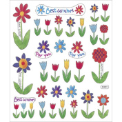 Multicoloured Stickers-Best Wishes Flowers