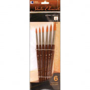 Studio Elements Short Handle Golden Taklon Brush Set-6/Pkg