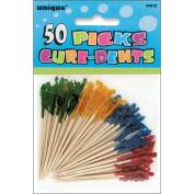 Frilled Picks 6.4cm 50/Pkg-Assorted Colours