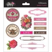 Pretty In Pink Glitzers Transparent Stickers 15cm x 15cm -