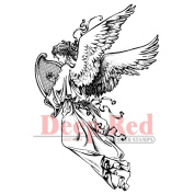 Deep Red Cling Stamp 5.1cm x 7.6cm -Angel W/Harp