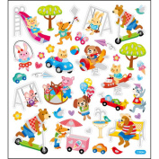 Multicoloured Stickers-Animals At Play