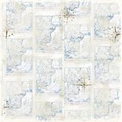 Summer Memories Heavyweight Cardstock 30cm x 30cm -Scandinavian Map