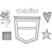 Angie Blom Unmounted Rubber Stamps 14cm x 18cm -Pocket & Patches