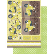 All About Him Die-Cut Punch-Out Card 2-Sheet Pack-Vespa-Olive With Silver Foil