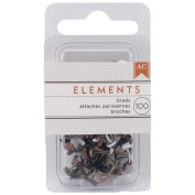 Elements Mini Brads 100/Pkg-Round/Metallic