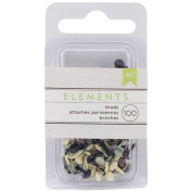 Elements Mini Brads 100/Pkg-Round/Neutral
