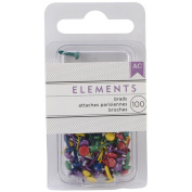 Elements Mini Brads 100/Pkg-Round/Primary