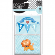 Me & My Big Ideas Pocket Pages Themed Embellished Cards 6/Pk-Hello Baby Boy
