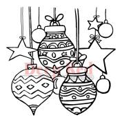 Deep Red Cling Stamp 7.6cm x 7.6cm -Christmas Stars & Balls
