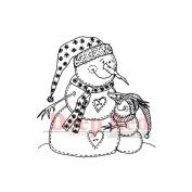 Deep Red Cling Stamp 5.7cm x 5.7cm -Snowman Hugs