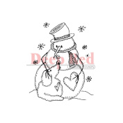 Deep Red Cling Stamp 5.1cm x 5.1cm -Snowman W/Dog