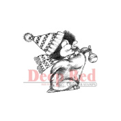 Deep Red Cling Stamp 5.1cm x 3.8cm -Penguin W/Ornament