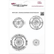 Heartfelt Creations Cling Rubber Stamp Set 13cm x 17cm -Christmas Sentiment Circles