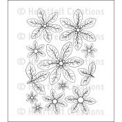 Heartfelt Creations Cling Rubber Stamp Set 13cm x 17cm -Christmas Poinsettia
