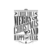IndigoBlu Cling Mounted Stamp 7.6cm x 7.6cm -I Wish You A Merry Christmas - Dinkie
