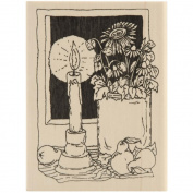 Inky Antics Mounted Rubber Stamp 6.4cm x 8.9cm -Autumn Candle