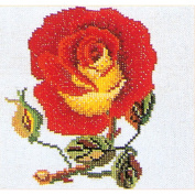 Red W/Yellow Rose On Aida Counted Cross Stitch Kit-13cm - 0.3cm x 13cm 16 Count