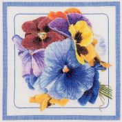 Pansies On Aida Counted Cross Stitch Kit-33cm - 1.3cm x 34cm 18 Count