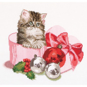 Christmas Kitten On Aida Counted Cross Stitch Kit-30cm - 0.6cm x 30cm 16 Count