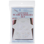 Stamped Dresser Scarf & Doilies Lace Edge-Starburst Of Hearts