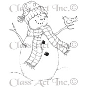 Class Act Cling Mounted Rubber Stamp 7cm x 9.5cm -Bird Snowman