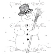 Class Act Cling Mounted Rubber Stamp 7.6cm x 14cm -Snowman Broom