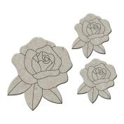 Die-Cut Grey Chipboard Embellishments-Roses 3/Pkg, Up To 5.1cm x 5.7cm