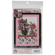 Pink Floral Cat Counted Cross Stitch Kit-13cm x 18cm 14 Count