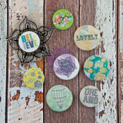 Free Spirit Flair Buttons With 5.1cm x 5.1cm Clear Stamp-(4) .190cm & (4) 2.5cm