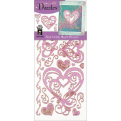 Dazzles Stickers-Pink Swirly Hearts