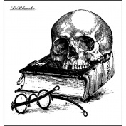 LaBlanche Silicone Stamp 7.6cm x 7.6cm -Skull & Book