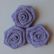 Vintage Linen Burlap Roses 5.1cm 3/Pkg-Lilac