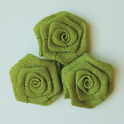 Vintage Linen Burlap Roses 5.1cm 3/Pkg