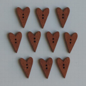 Wooden Buttons 10/Pkg-Stained Hearts .13cm x 2.5cm