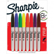 Sharpie Fine Point Permanent Markers Carded 8/Pkg-Assorted Colours