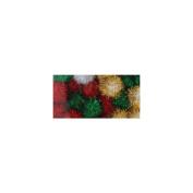 Tinsel Pom-Poms 2.5cm 24/Pkg-Christmas Darks