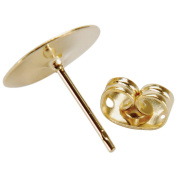 Flat Pad Earring Post & Butterfly Clutch 10mm 8/Pkg-Gold Plated
