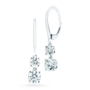 Round Brilliant Diamond Graduated Two-Stone Earrings (1.40 ctw) 14kt White Gold