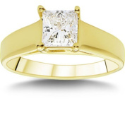 1.00 ct Princess Cut VS2 Clarity, I Colour Diamond Solitaire Ring; 18kt Yellow Gold