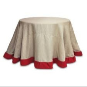 2 Beige Burlap Round Christmas Table Cloths with Bright Red Trim