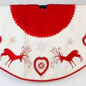 Sterling 120cm  Rustic Red and White Reindeer and Heart Christmas Tree Skirt