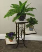 4D 605808 3 Tier Plant Stand in Black Metal with Travertine Top
