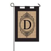 Burlap Monogram D Garden Flag